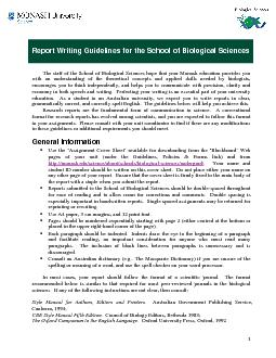 Report Writing Guidelines for the School of Biological Sciences ...