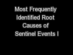Most Frequently Identified Root Causes of Sentinel Events I