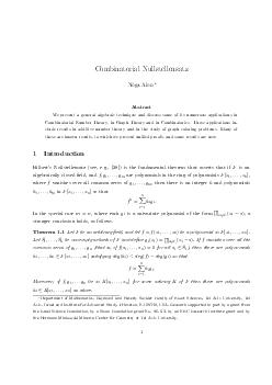 Combinatorial Nullstellensatz Noga Alon Abstract We present a general algebraic technique and discuss some of its numerous applications in Combinatorial Number Theory in Graph Theory and in Combinato