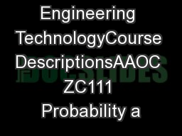 B.S. Engineering TechnologyCourse DescriptionsAAOC ZC111 Probability a