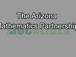 The Arizona Mathematics Partnership:
