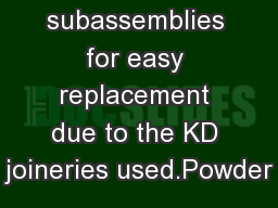 subassemblies for easy replacement due to the KD joineries used.Powder