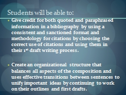 Students will be able to: PowerPoint PPT Presentation