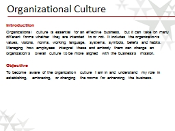 Organizational Culture PowerPoint PPT Presentation