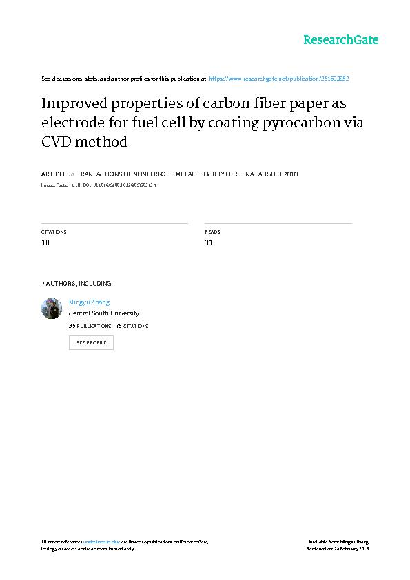 Improved properties of carbon fiber paper as electrode for fuel cell b