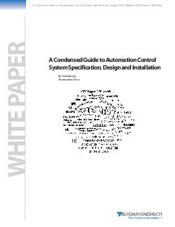 Technical Review A Condensed Guide to Automation Control System Specification Design and Installation Part  System Identification and Safety by Tom Elavsky AutomationDirect If you have not been dire PDF document - DocSlides