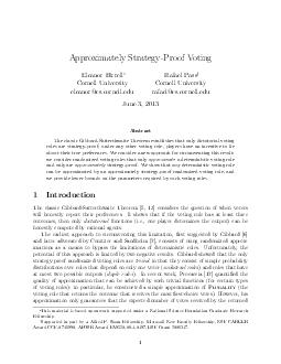 Approximately StrategyProof Voting Eleanor Birrell and Rafael Pass Cornell Unive