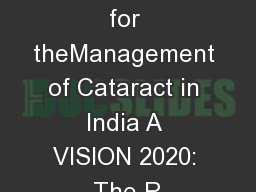 Guidelines for theManagement of Cataract in India A VISION 2020: The R