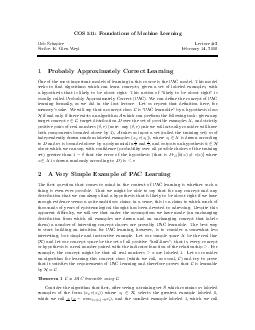 COS  Foundations of Machine Learning Rob Schapire Lecture  Scribe E PDF document - DocSlides
