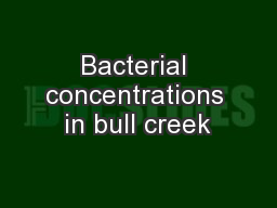 Bacterial concentrations in bull creek