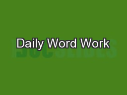 Daily Word Work