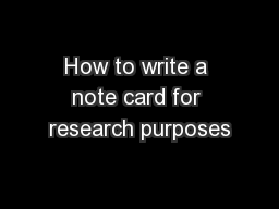 How to write a note card for research purposes