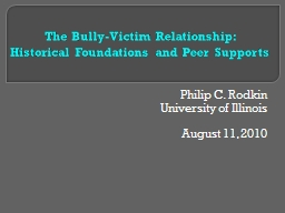 The Bully-Victim Relationship: PowerPoint PPT Presentation