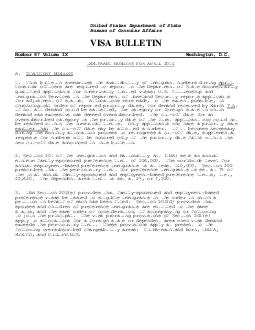 United States Department of State Bureau of Consular Affairs VISA BULLETIN Numbe