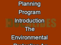 Brownelds AreaWide Planning Program Introduction The Environmental Protection Ag