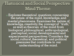 Historical and Social Perspective
