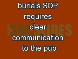 The new burials SOP requires clear communication to the pub