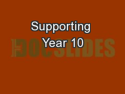 Supporting Year 10