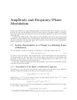 Amplitude and FrequencyPhase Modulation I always had diculties in understanding frequency modulation FM and its frequency spectrum