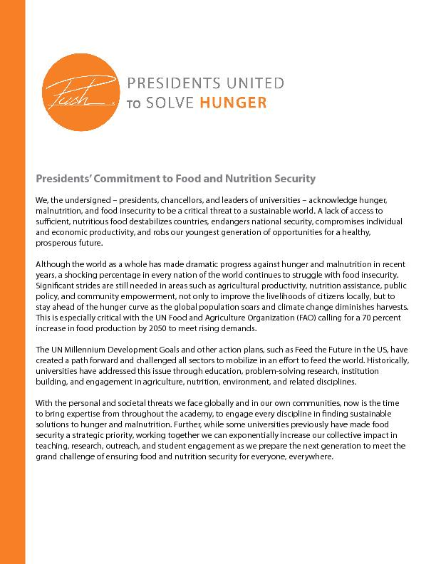 Presidents' Commitment to Food and Nutrition Security