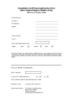 Completion Certificate Application Form