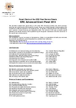 Panel Chairs of the ERC Peer Review Panels ERC Advanced Grant Panel  The list below includes the panel chairs in th e sixth ERC Advanced Grants peer review process identified and invited by the ERC S PDF document - DocSlides
