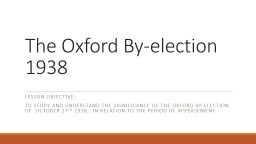 The Oxford By-election 1938
