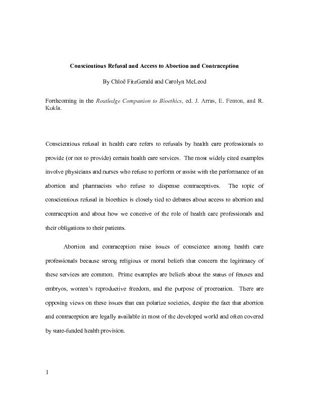 Conscientious Refusal and Access to Abortion and Contraception By Chlo