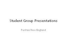 Student Group Presentations