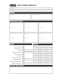 GAME CREATION WORKSHEET PowerPoint PPT Presentation