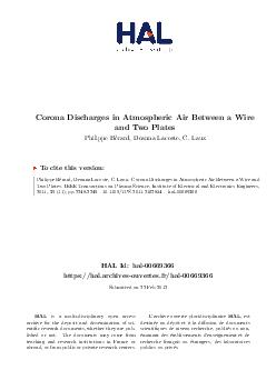Corona Discharges in Atmospheric Air Between a Wire and Two Plates Philippe Berard Deanna Lacoste C PDF document - DocSlides