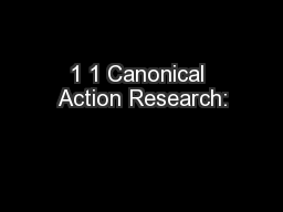 1 1 Canonical Action Research:
