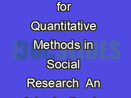 An Introduction to Error Correction Models Robin Best Oxford Spring School for Quantitative Methods in Social Research  An Introduction to ECMs Error Correction Models ECMs are a category of mu ltipl