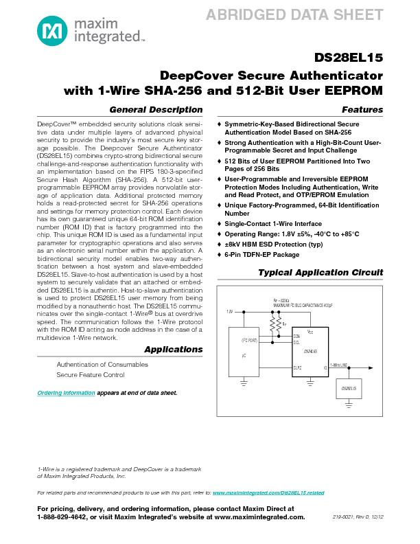 DS28EL15DeepCover Secure Authenticator with 1-Wire SHA-256 and 512-Bit