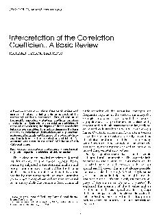 Interpretation of the Correlation Coefficient A Basic Review RICHARD TAYLOR EDD RDCS A basic consideration in the evaluation of professional medical literature is being able to understand the statis PowerPoint PPT Presentation