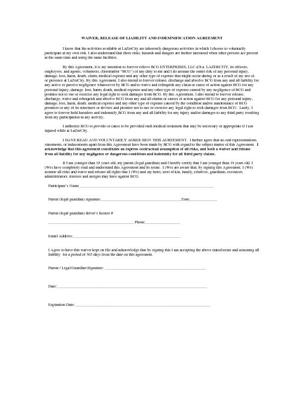 WAIVER, RELEASE OF LIABILITY AND INDEMNIFICATION AGREEMENT