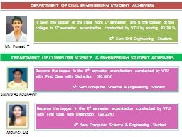 DEPARTMENT OF CIVIL ENGINEERING STUDENT ACHEIVERS PowerPoint PPT Presentation