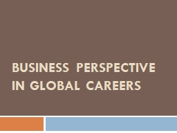 Business perspective in global careers