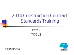 2010 Construction Contract Standards Training PowerPoint PPT Presentation