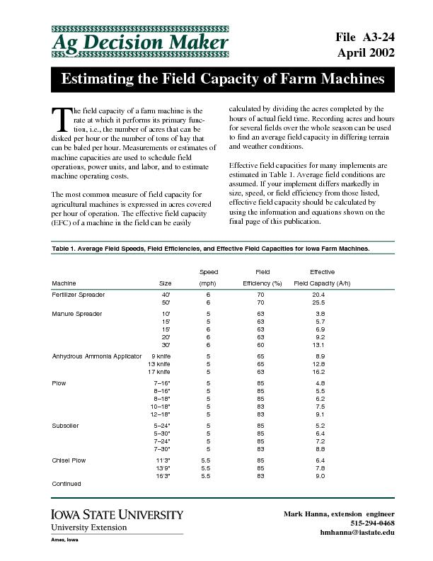 Estimating the Field Capacity of Farm Machines