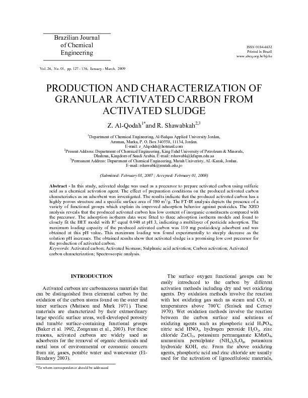 Production and Characterization of Granular Activated Carbon from Acti