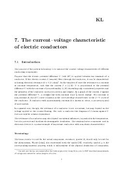 The currentvoltage characteristic of electric conductors KL