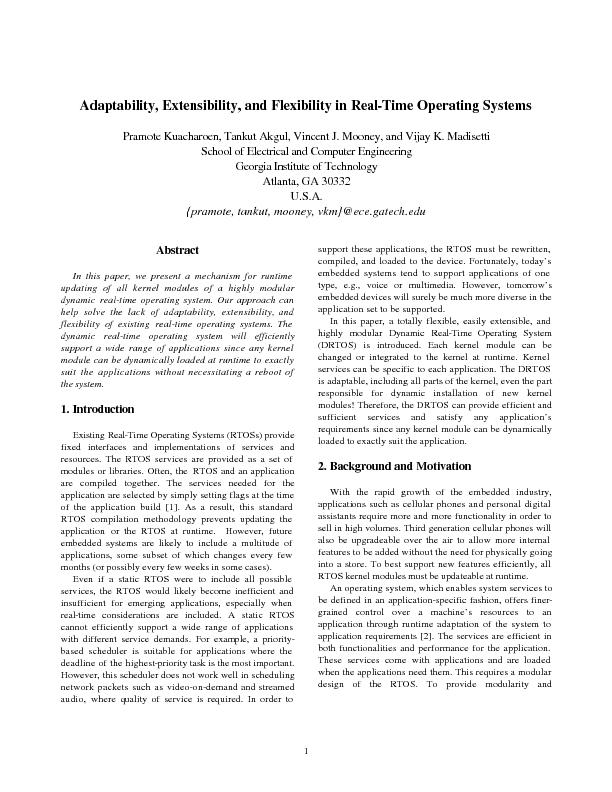 Adaptability, Extensibility, and Flexibility in Real-Time Operating Sy PowerPoint PPT Presentation