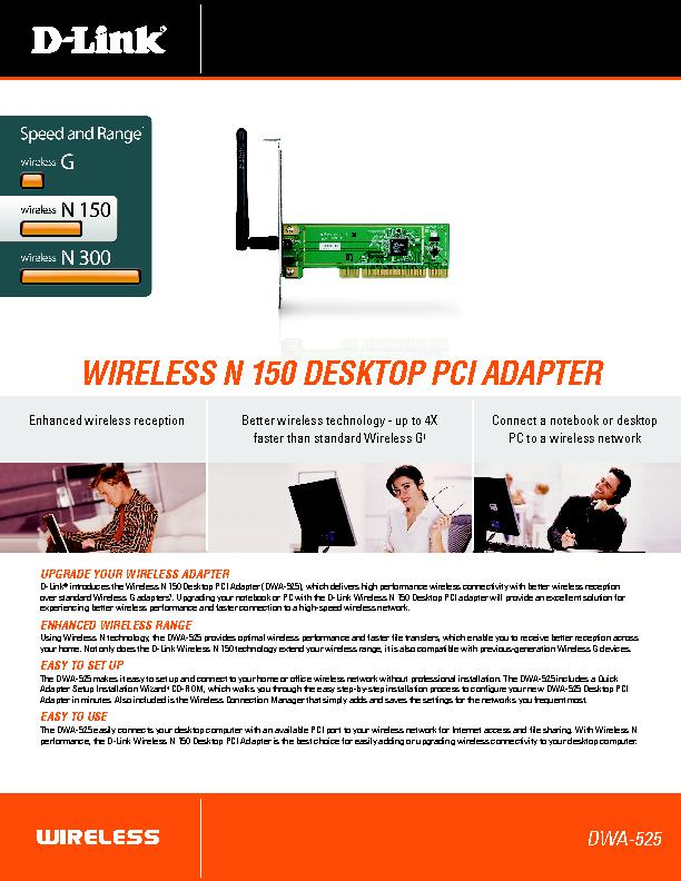 introduces the Wireless N 150 Desktop PCI Adapter (DWA-525), which del