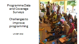 Programme Data and Coverage Surveys