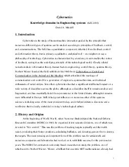Cybernetics Knowledge domains in Engineering systems fall  David A PDF document - DocSlides