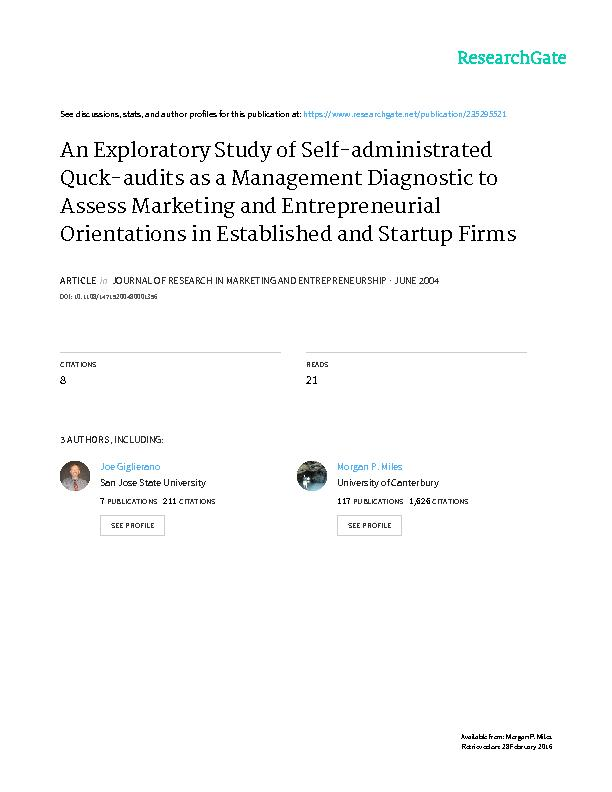 An Exploratory Study of Self-administrated Quick-audits as a Managemen