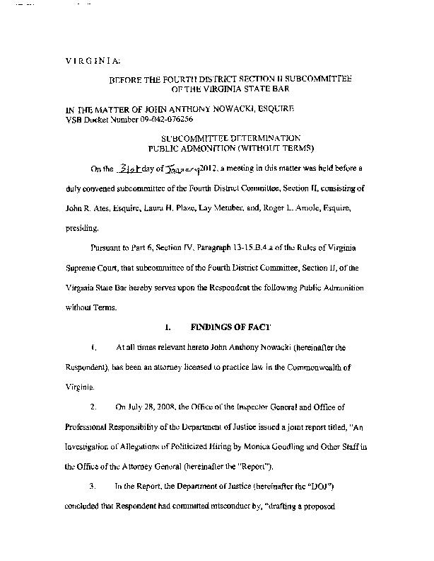 VIRG IN IA: BEFORE THE FOURTH DISTRICT SECTION II SUBCOMMITTEE OF THE