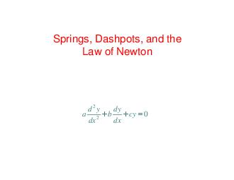 Springs Dashpots and the Law of Newton dydy abcy dx dx  Suppose we have a spring a mass and a dashpot PDF document - DocSlides