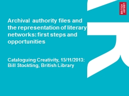 Archival authority files and the representation of literary